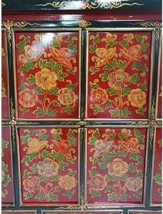 Etnicart - Credenza tibetana con decori Base rosso-115x105x45-Massello