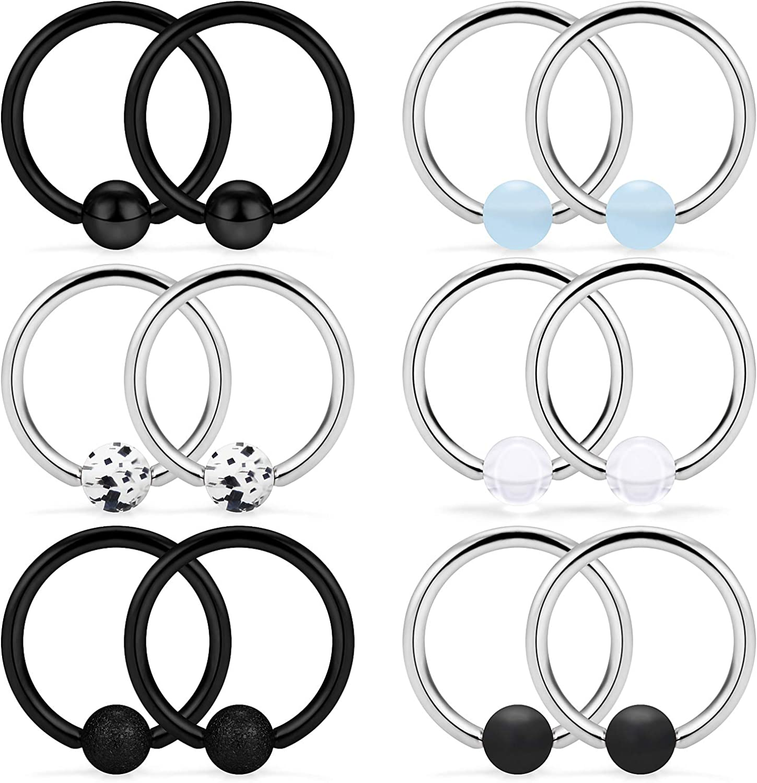 SCERRING 6 Pairs 14G Stainless Steel Captive Bead Ring Nipple Rings Hoop Cartilage Earrings Nipplerings Piercing Jewelry for Women Men 14mm 16mm