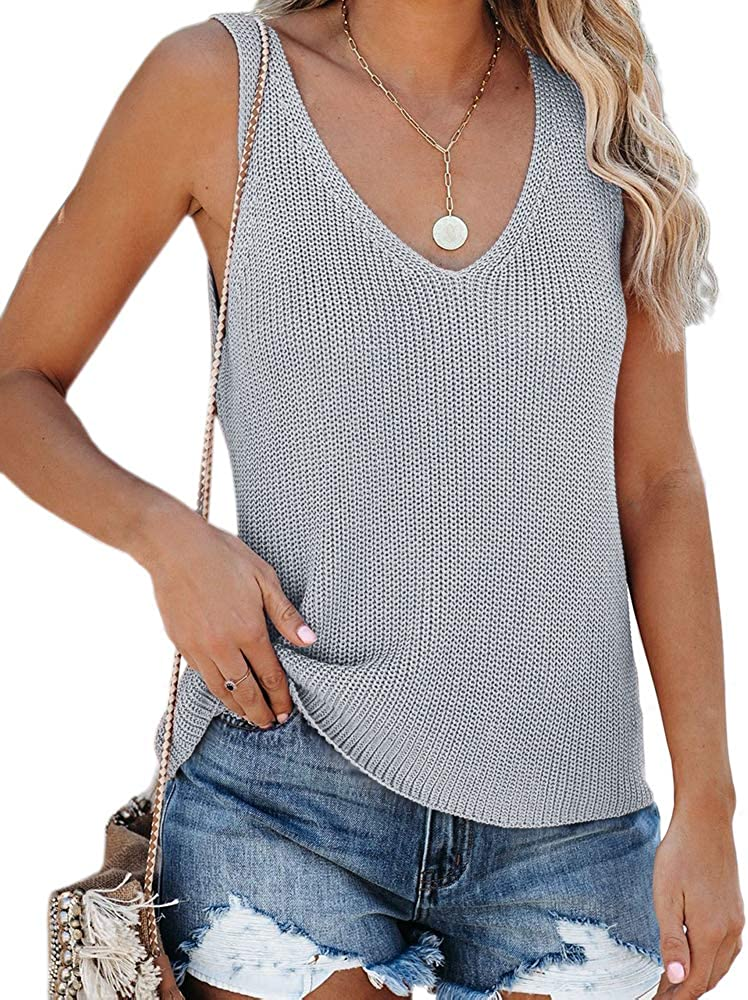 Tutorutor Womens Sleeveless V Neck Sweater Vest Summer Fall Knitted Loose Cami Tank Tops