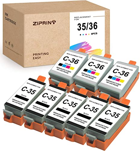 lowest ZIPRINT Compatible Ink Cartridge Replacement for Canon 35 36 PGI-35 CLI-36 use for TR150 Pixma iP110 wholesale iP100 Mini260 Mini320( 5 Black, 3 Color, 8 discount Pack) outlet sale