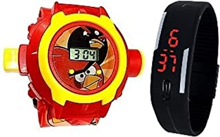 Pappi-Haunt - QUALITY ASSURED - Kids Special Toys - Pack of 2 - Angry Bird Projector Band Watch + Jelly Slim Black Digital...