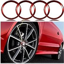 Xotic Tech 4 Pieces Red Alloy Car Wheel Rim Center Cap Hub Rings Decoration for Audi A3 A4 A5 TT Quattro, Fit BMW X1 X3 X5 1 3 5 6 7 Series