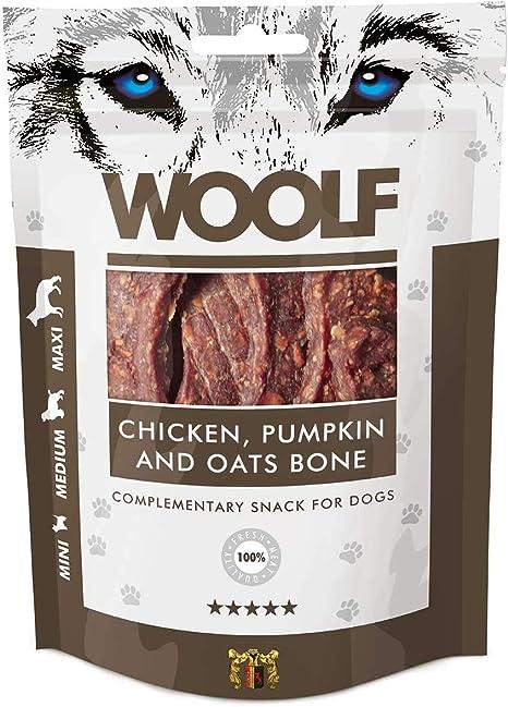Perro aperitivos Woolf 100 g – Grandes huesos con pollo, calabaza & Avena