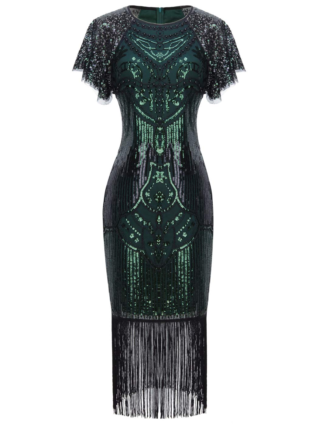Party Dresses - 1920s Knee Length Flapper Party Cocktail Dress With Sequined Cap Sleeve Layer Tassels Hem