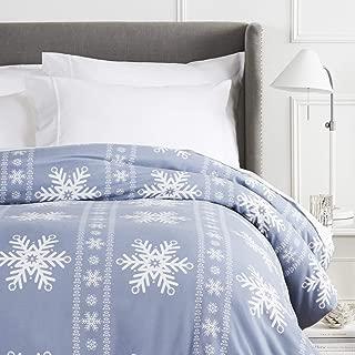 Pinzon Cotton Flannel Duvet Cover - Queen, Snowflake Dusty Blue