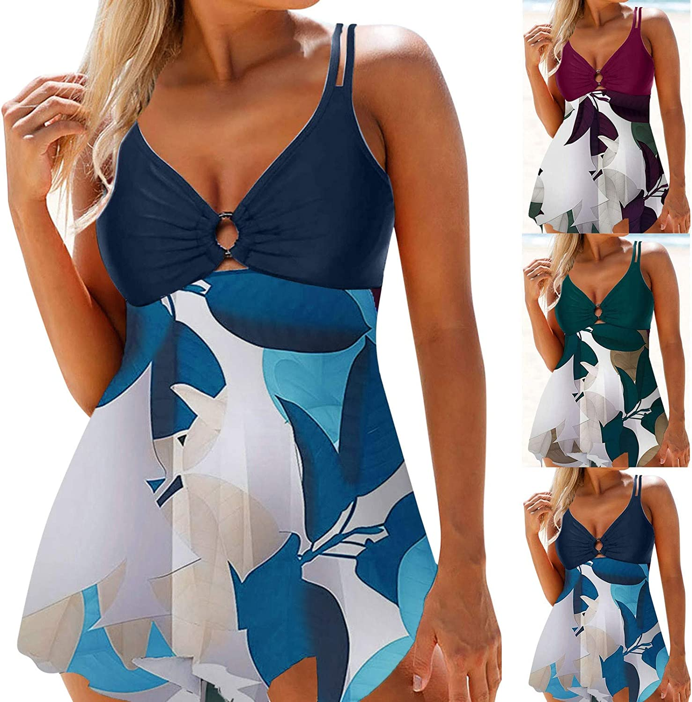 Swimsuit for Women,Women Two Piece Bathing Suits Tummy Control Swimwear Modest Print Bikini Ring Top Womens Tops