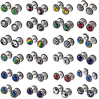 Shuning 24pcs Cheater Fake Ear Plugs Satinless Steel Gauges Illusion Tunnel Piercing Stud Screw Earrings 12Style