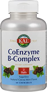 KAL Coenzyme B-Complex Tablets, Cocoa Mint, 60 Count