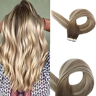 Easyouth Tape In Remy Hair Extensions 20 Inch Colour 3 Fading To 8 Ash Brown Highlight With 22 Skin Weft Hair Extensions Glue In Hair Extensions Human Hair Full Head
