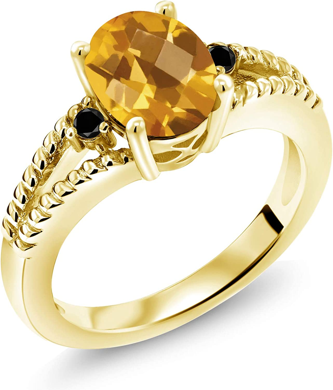 Gem Stone King 1.35 Ct Yellow Checkerboard store Max 68% OFF Diamond Citrine 18K