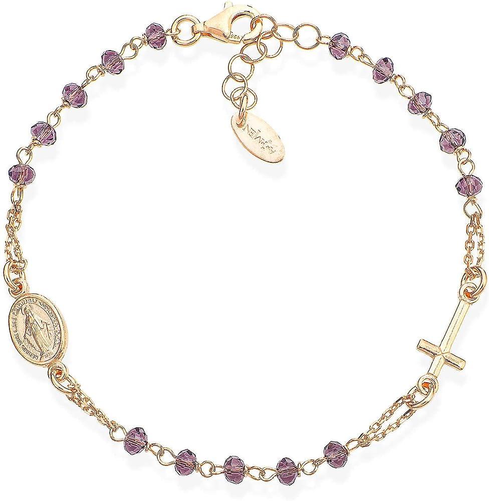 Amen, bracciale per donna,in argento 925 e cristalli BRORL3