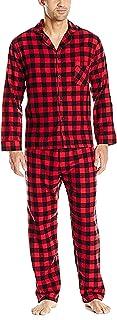 Men's Flannel Pajama Set-Red Buffalo Plaid