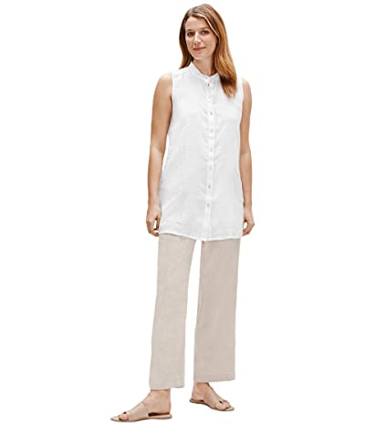 Eileen Fisher Mandarin Collar Sleeveless Shirt (White) Women
