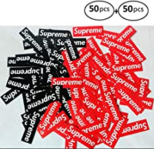 Supreme Stickers 50 Pieces Pack Waterproof and Oil Proof OEM Style for Decoration of Smart Phone, Laptop, Backpack Skateboarding, Cars, Laggages etc (Red and Black, 100 pieces (50+50))