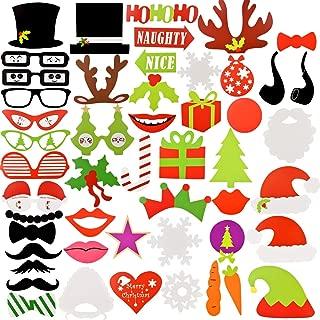 NATUCE 50 Piezas Navidad Kit de Accesorios, Atrezzo Photocall Navidad Bricolaje Kits con Bigotes, Labios, Corbatas, Gafas y Sombreros Para Fiesta Mascarada, Fiesta de Navidad