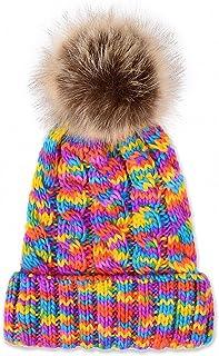 JcxHat Women Rainbow Fold Crochet Chunky Slouchy Thick Winter Knit Hat Beanie Skully with Pom Pom