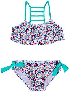 SIN vimklo Girls One-Piece Swimsuit Watermelon Printed Backless Halter Swimwear