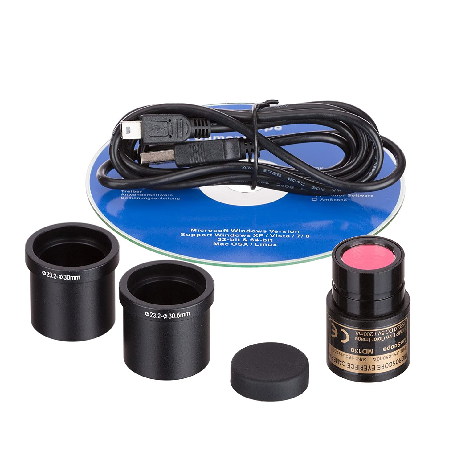 AmScope MD130 1.3MP Digital Microscope Camera for Still and Video Images, 40x Magnification, Eye Tube Mount, USB 2.0 Output, Includes Software