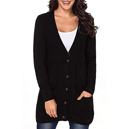 Uniarmoire Women Long Sleeve Pocket Knit Cardigans Button Cable Sweater Coat e59adb641