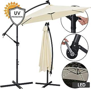 ohne St/änder knickbar UV-Schutz bis UPF 50+ SONGMICS Sonnenschirm mit LED-Solar-Beleuchtung mit Kurbel zum /Öffnen und Schlie/ßen Gartenschirm