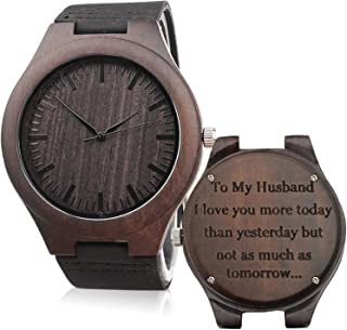 Customized Engraved Wooden Watch Leather Strap Analog Quartz Lightweight Wood Watch Husband Gifts Anniversary Gifts for Men Fathers Day Gifts for Son