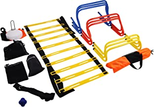 Mophorn Ultimate Multi Speed Agility Kit Combo Set Agility Speed Training Kit Exercise and Fitness Football Training Kit with Carry Bag for Both Junior and Senior Training