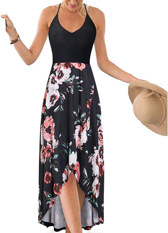 Maxi Dress for Women,Women Sexy V-Neck Print Sling Points Fork Sleeveless Summer Dress Maxi Dresses