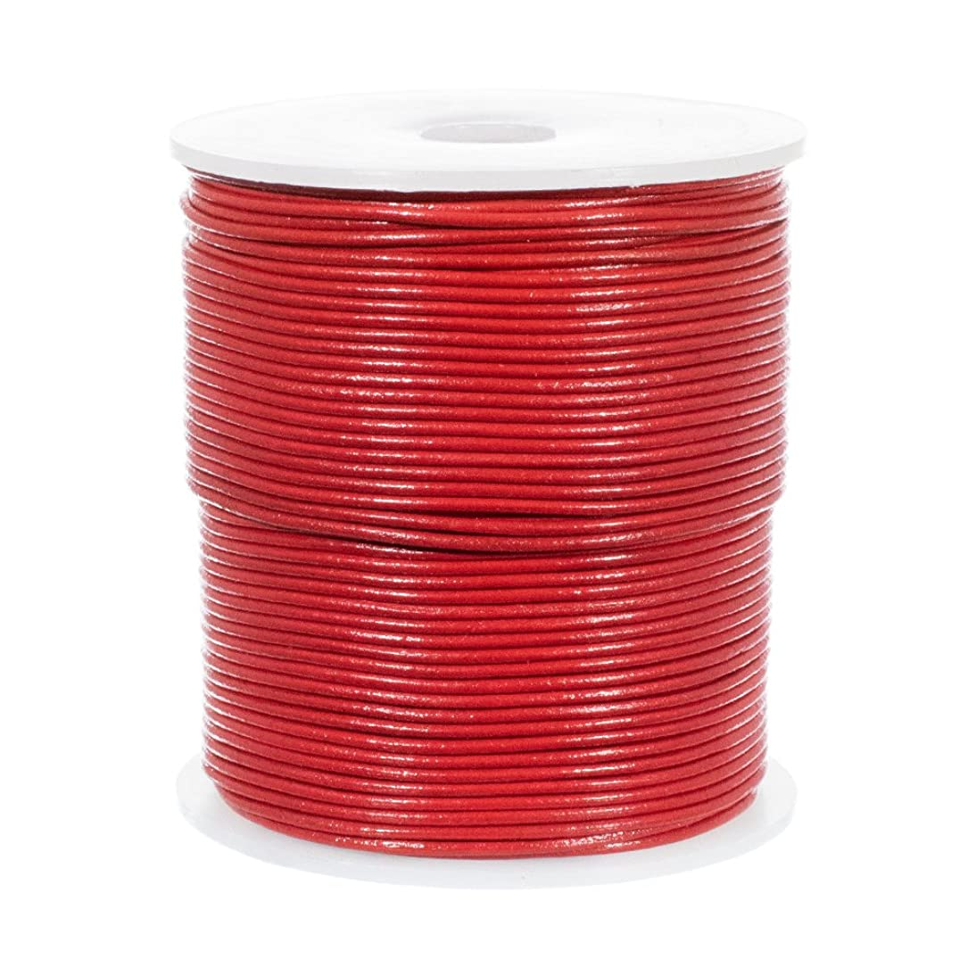 25 Yards of Solid Round 1.5mm Red Real and Genuine Leather Cord for use as Braiding String (1.5mm, Red)