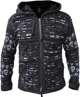 Little Kathmandu Men`s Skull Printed Razor Cut Black Goth Jacket