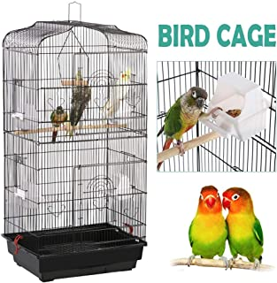Yaheetech 36-inch Portable Hanging Medium Flight Bird Cage for Small Parrots Cockatiels Sun Quaker Parakeets Green Cheek Conures Parrotlets Finches Canary Budgies Lovebirds Travel Bird Cage, Black