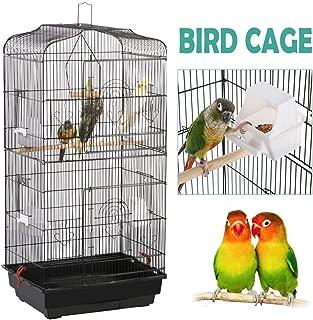 Yaheetech 36-inch Portable Hanging Medium Flight Bird Cage for Small Parrot Cockatiel Sun Quaker Parakeet Green Cheek Conure Parrotlet Finch Canary Budgie Lovebird Travel Bird Cage, Black