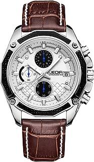 JEDIR Men's Chronograph Quartz Wrist Watch Analog Dial with Date Calendar Soft Leather Band