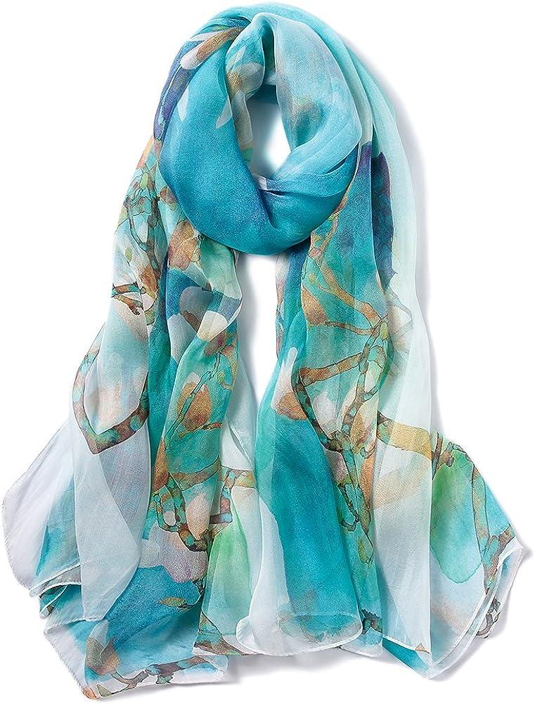 STORY OF SHANGHAI Bufanda de Seda Mujer 100% Seda Estampado Floral Colorido Gran Bufanda Mantón Ultraligero Transpirable Elegante
