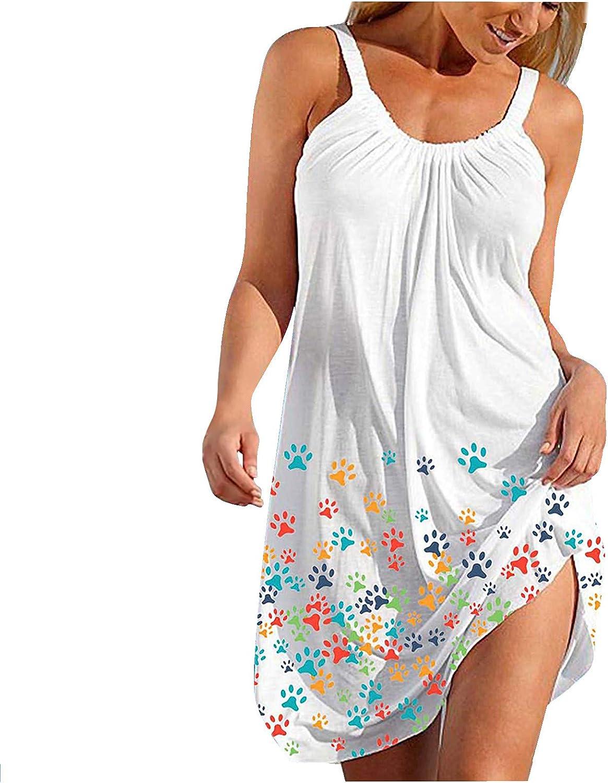 soyienma Womens Summer Dress, Beach Sundress Casual Fit Floral American Flag Patriotic Dress Sleeveless Tank Dress