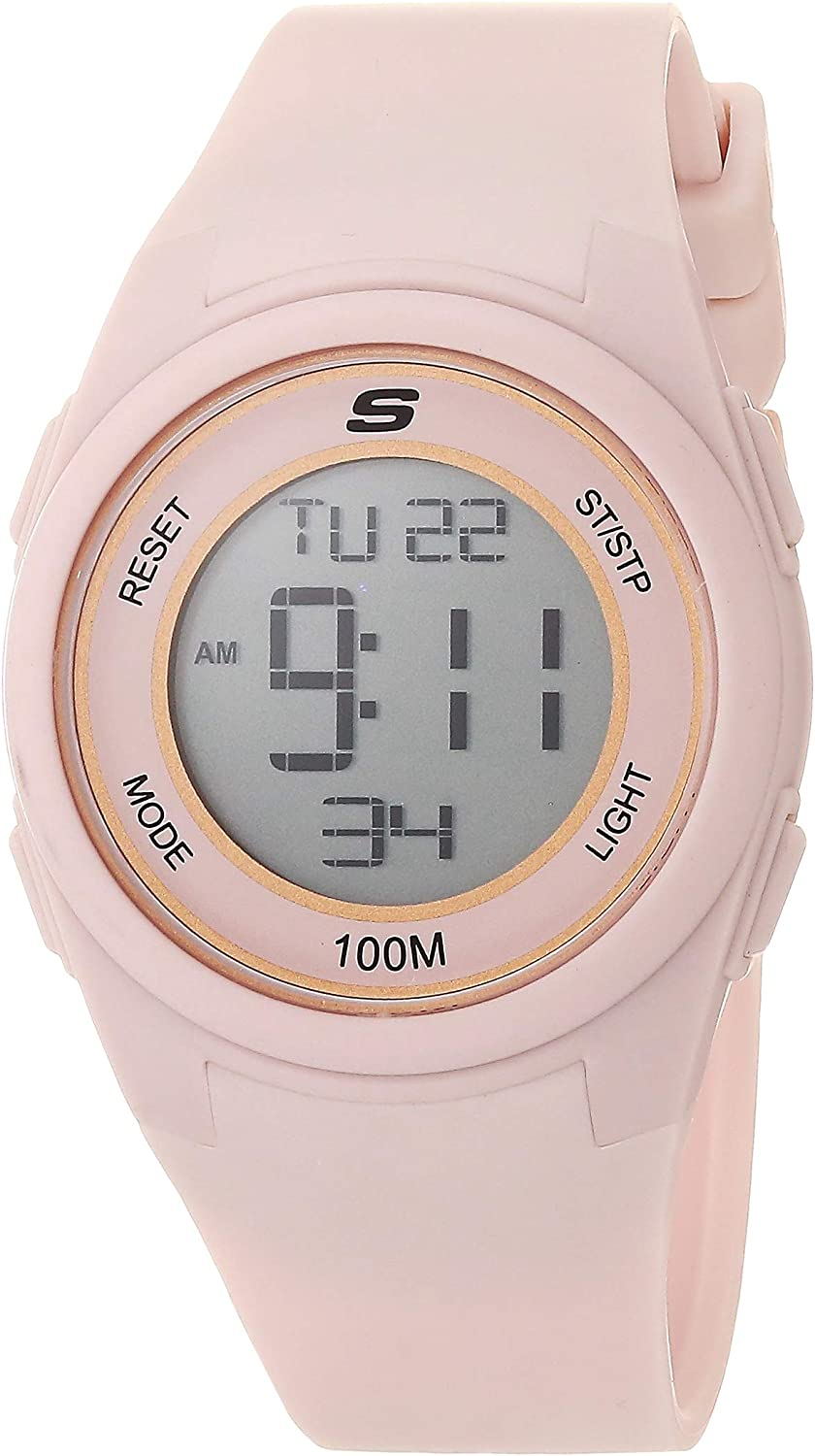 Skechers Women's Quartz Max 64% OFF Metal and Watch Silicone Import Digital Sports