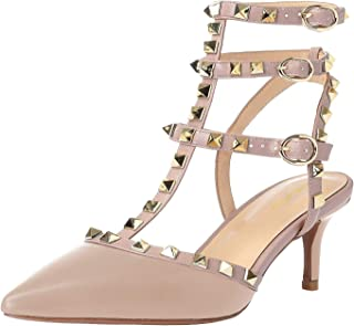 Lutalica Women Studded Sandals Pointed Toe Ankle Straps Kitten Heel Shoes Size 5.5-12 US