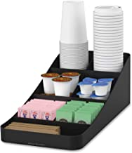 Mind Reader COMP7-BLK 7 Compartment Coffee Condiment, Cups, Lids, Sugars, and Stirrers,Storage Organizer, Black