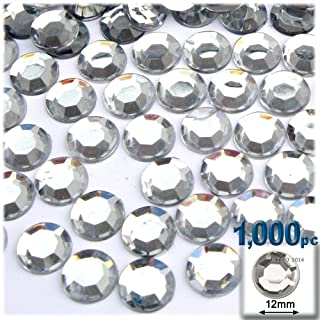 The Crafts Outlet 1000-Piece Loose Flatback Acrylic Round Rhinestones, 12mm, Crystal Clear