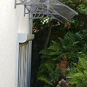 Vordach Haust/ür Terrassent/ür /Überdachung Haust/ürdach Pultvordach Alu Kunststoff Braun 150 x 80 cm Braun V2Aox