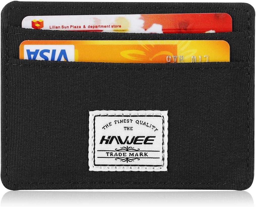 HAWEE Front Pocket Minimalist Credit Card Holder Wallet for Men 4 Credit Card Slot 1 Cash Bag, Black