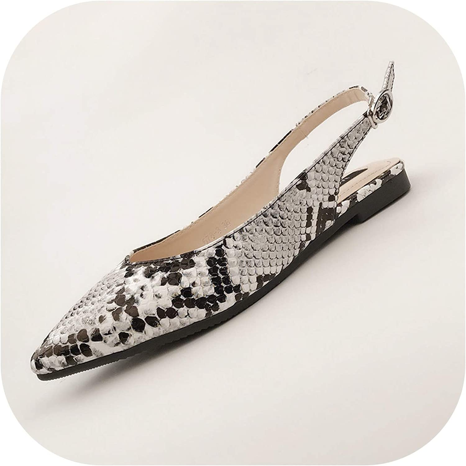 Women Flats with Sandals Snakeskinned Pointed Toe ShallowMouth Flat Heeled Buckle Back Strap shoes