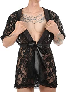 CHICTRY Mens Sexy Lingerie Silk Lace Night Gown Robe Dress Sissy Crossdressing G-String Underwear