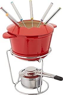 Cuisinart FP-115RS 13-Piece Cast Iron Fondue Set, Red