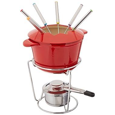 Cuisinart 13-Piece Cast Iron Fondue Set, Red