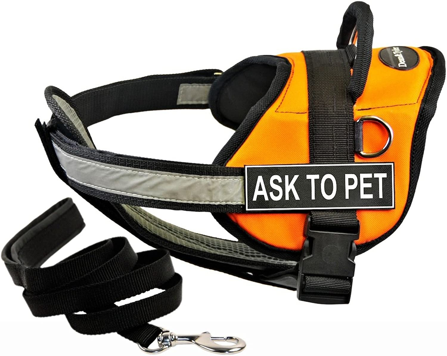 Dean & Tyler DT Works orange ASK TO PET Harness with Chest Padding, XSmall, and Black 6 ft Padded Puppy Leash.