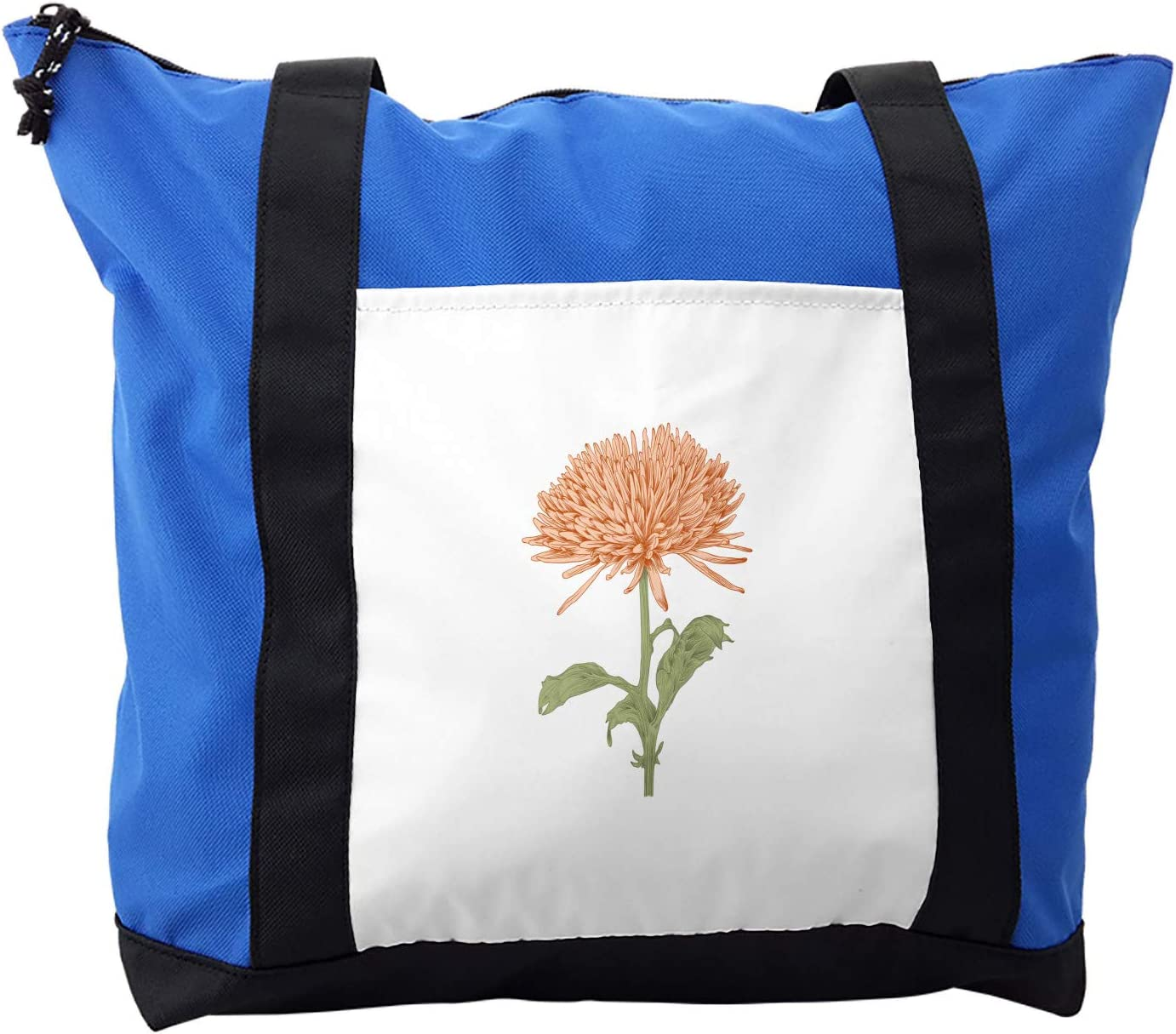 Ambesonne Dahlia Shoulder Bag, Retro Blooming Nature, Durable with Zipper