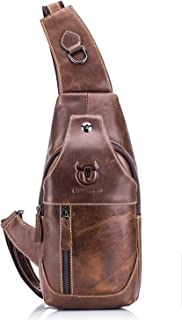 Bullcaptain Sling Backpack Genuine Leather Chest Shoulder Bags Casual Crossbody Bag Travel Hiking Daypacks 019