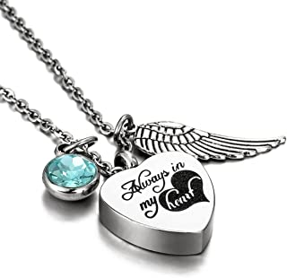 HooAMI Cremation Jewelry for Ashes Birthstone Heart Urn Necklace - Engraved Alway in My Heart Turquoise