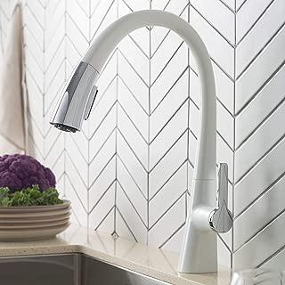 Kraus KPF-1673CHWH Nolen Dual Function Pull-Down Kitchen Faucet, Matte White/Chrome Finish