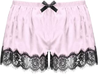 iixpin Mens Shiny Satin Boxer Shorts Sissy Floral Lace Trim Panties Pajama Hot Pants Nightwear